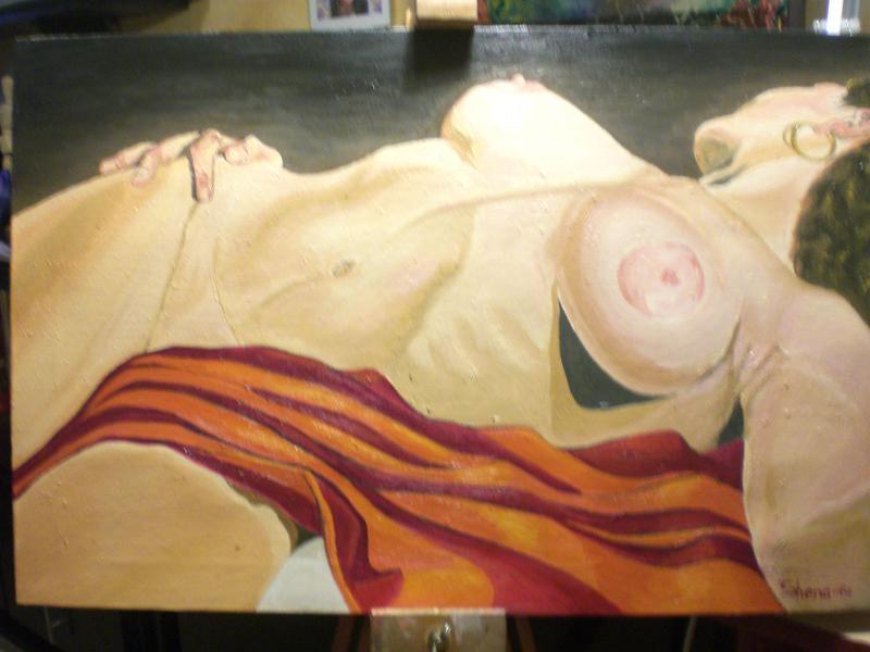 Ahmed El Shenawi, nudo, donna, quadro