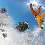 montagna, snowboard, neve