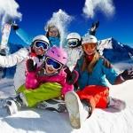sci, snowboard, montagna, neve, amici